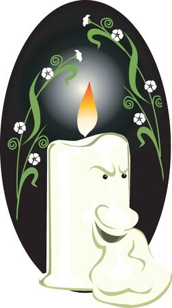 Illustration of a   candle lighted Stock Illustration - 3388439