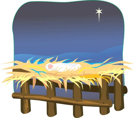 star of bethlehem: Illustration of a baby in cattle shed and a star on background