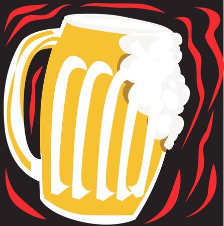 Illustration of overflowing beer glass  illustration