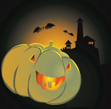 Illustration of Human faced Pumpkin with eyes and mouth Stock Illustration - 3388565
