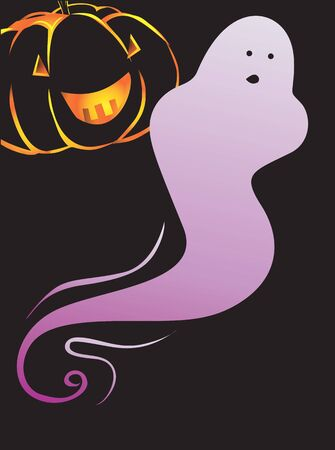 Illustration of a ghost and pumpkin Stock Illustration - 3388421