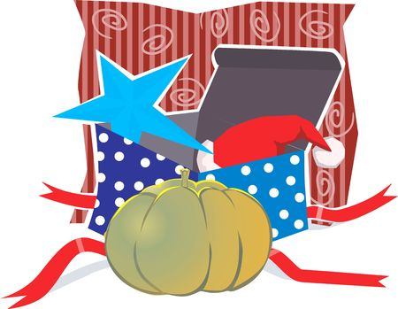 unopened: Illustration of a gift box and pumpkin  Stock Photo