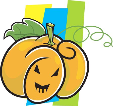 Illustration of Human faced Pumpkin with eyes and mouth  Stock Illustration - 3388684