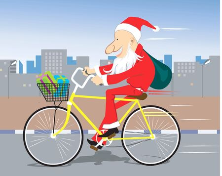 fur tree: Illustration of Santa clause cycling in a road