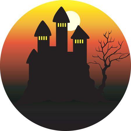 fort: Illustration of fort in a moonlight