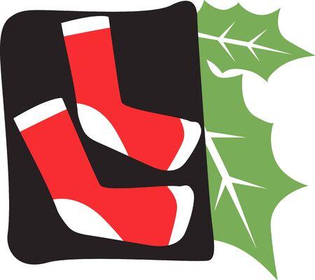 Illustration of a Santa�s hat and leaf  illustration