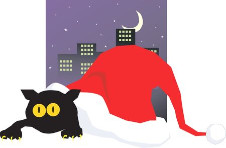 mongoose: Illustration of a mongoose hiding in a santa�s hat