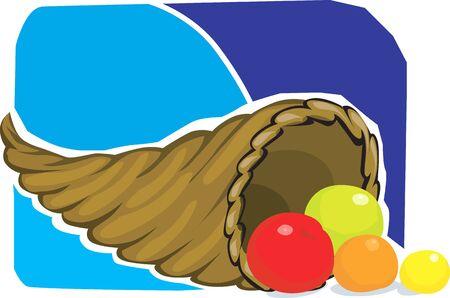 Illustration of fruits in a basket Stock Illustration - 3388444