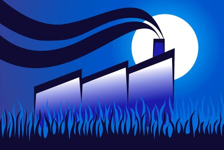 paddy field: Illustration of a factory in a agricultural field in blue background