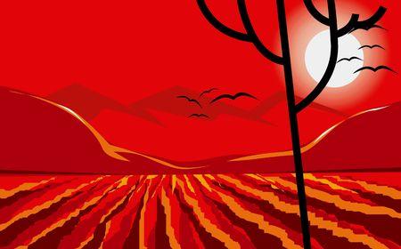 Illustration of a agricultural land in sunset  Reklamní fotografie