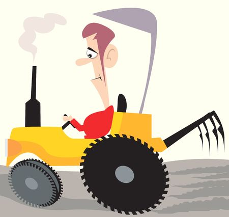 digger: Illustration of a man driving tractor in a field