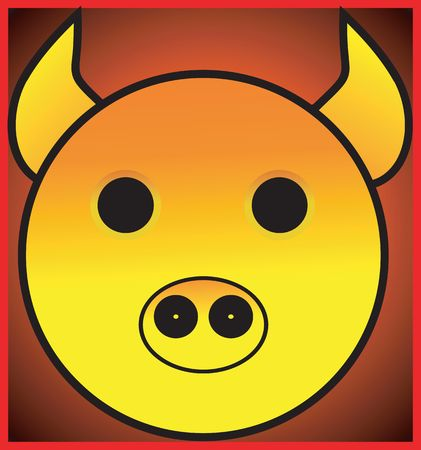Illustration of  face of a yellow pig in a square  illustration