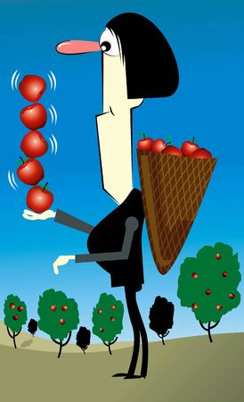 Illustration of a man with apples in a basket Stock Illustration - 3388515