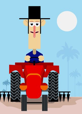 Illustration of a man driving the tractor in the field  illustration