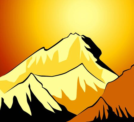 mountainside: Illustration of the cliffs of mount Everest  Stock Photo
