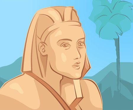 kingdom of god: Illustration of a pharaoh in Egypt Stock Photo