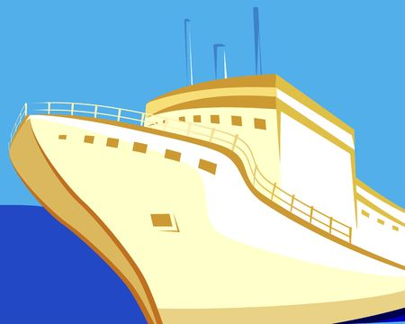 propulsion: Illustration of a ship with brown hull at sea