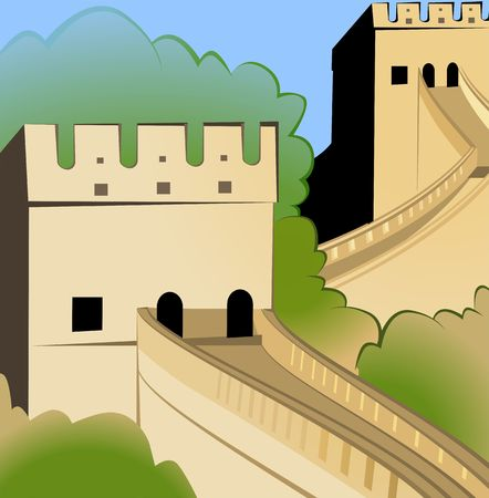 china wall: Illustration  of great wall of china  Stock Photo