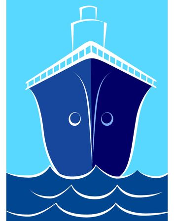 propulsion: Illustration of a ship with blue hull at sea  Stock Photo