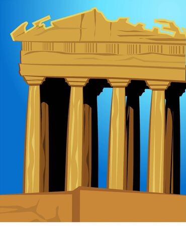 the acropolis: Illustration of acropolis in blue background