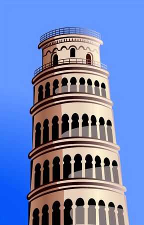 Illustration of pizza tower in blue background  illustration