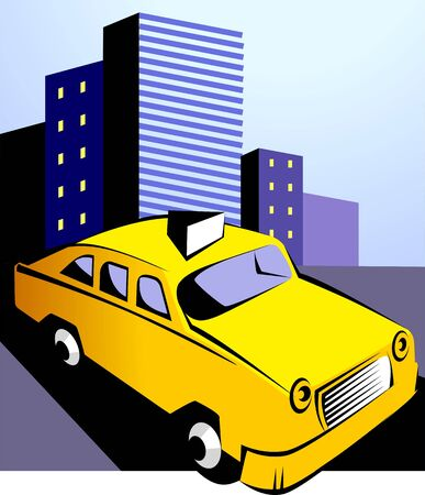 Illustration of a yellow taxi car near buildings
