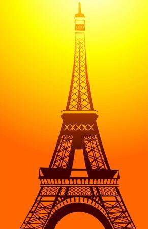 Illustration of eifel tower in orange colour light  illustration