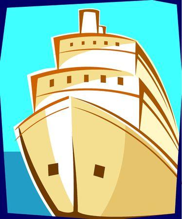hull: Illustration of a ship with brown hull at sea