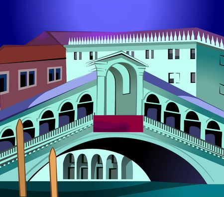 Illustration of grand canal in Italy
