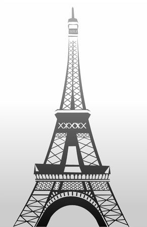 eifel tower: Illustration of eifel tower in black and white