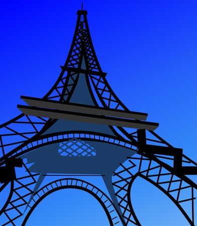 eifel tower: Illustration of eifel tower in blue background  Stock Photo
