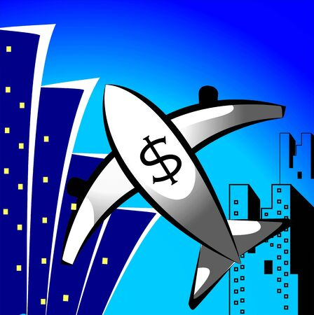 whooping: Illustration of aeroplane having dollar symbol