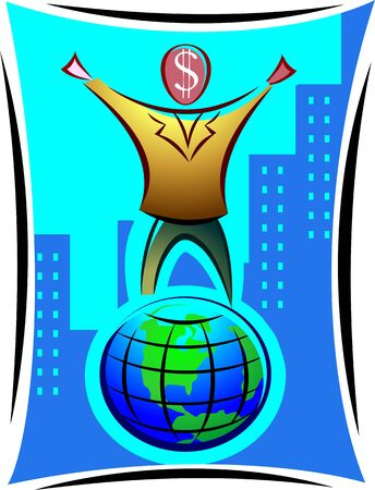 Illustration of a symbolic man with dollar head standing on top of the globe  illustration