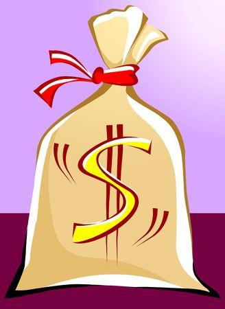 Illustration of a bag filled with dollar Stock Illustration - 3388519