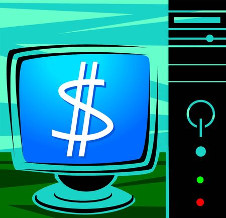 Illustration of a computer and monitor with dollar symbols illustration