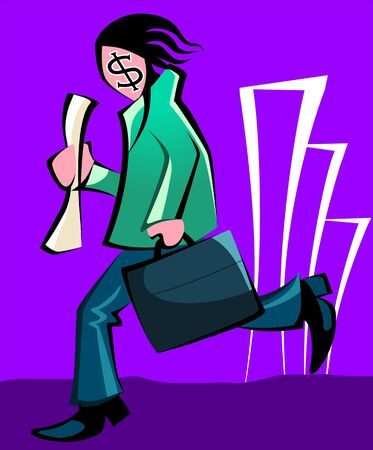 Illustration of a man with dollar printed face running Stock Illustration - 3388621