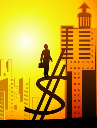 Illustration of a man with standing on top of dollar symbol,  illustration