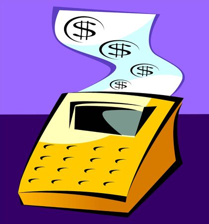Illustration of a computing machine and paper printing dollar symbols illustration