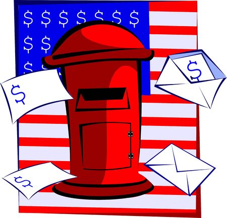 addressee: Illustration of a  envelope for mail with dollar symbol and post-box  Stock Photo