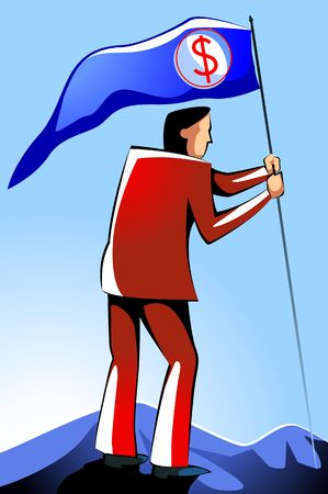 everest: Illustration of a  man with a flag with dollar symbol