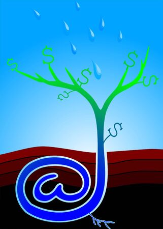 earnings: Illustration of internet seed with dollar plant