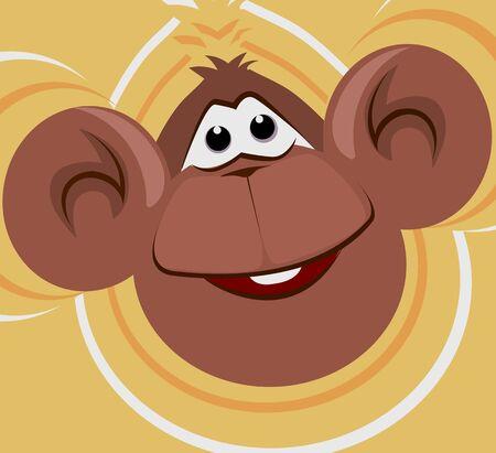 Ilustración de un mono riendo Foto de archivo - 3388904