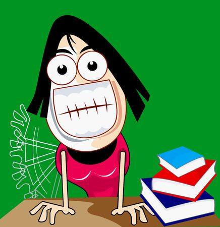 angry teacher: Illustration of a lady standing with anger  Stock Photo
