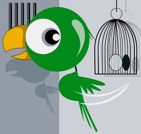 escaping: Illustration of parrot escaping from a cage  Stock Photo