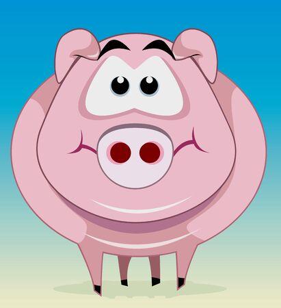 Illustration of pig smiling  Stock Photo