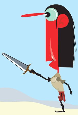 Illustration of a tribal man standing with a sword  illustration