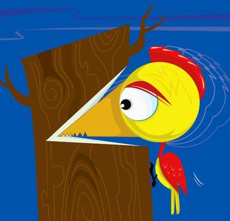 woodpecker: Illustration of woodpecker cutting the tree  Stock Photo