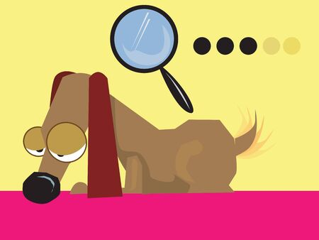 Illustration of a dachshund dog and a magnifying glass  illustration