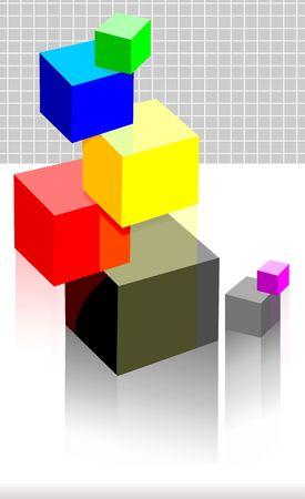 Illustration of different colour cubes   illustration