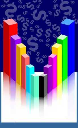 Illustration of graph cubes near a dollar wall Stock Illustration - 3388857